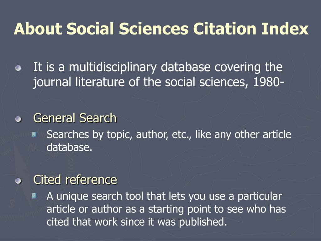 About Social Sciences Citation Index
