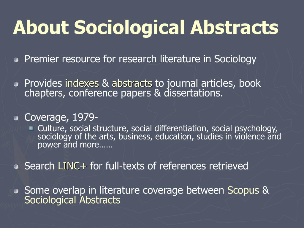 About Sociological Abstracts