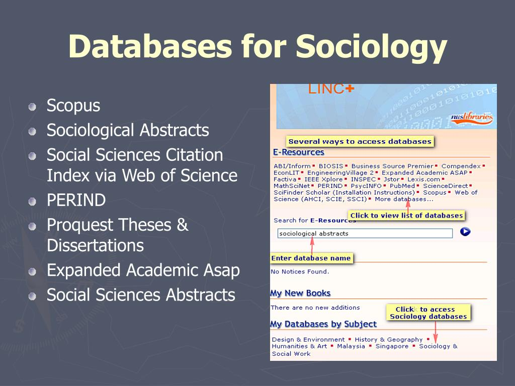 Databases for Sociology
