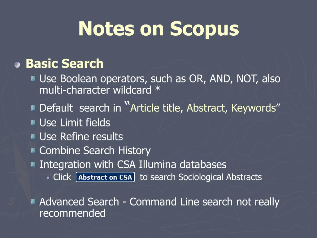 Notes on Scopus