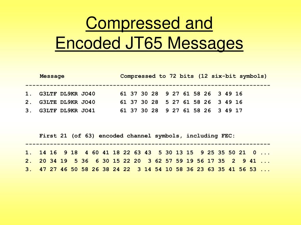 Compressed and Encoded JT65 Messages