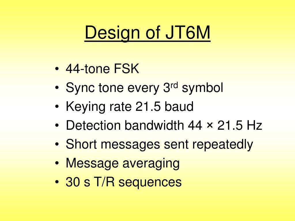 Design of JT6M