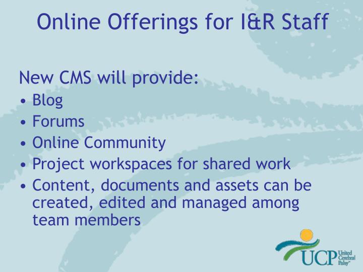 Online Offerings for I&R Staff