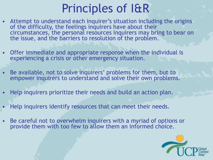 Principles of I&R