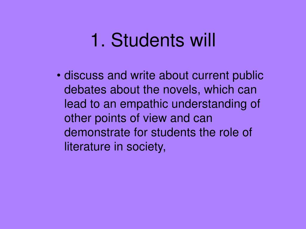1. Students will
