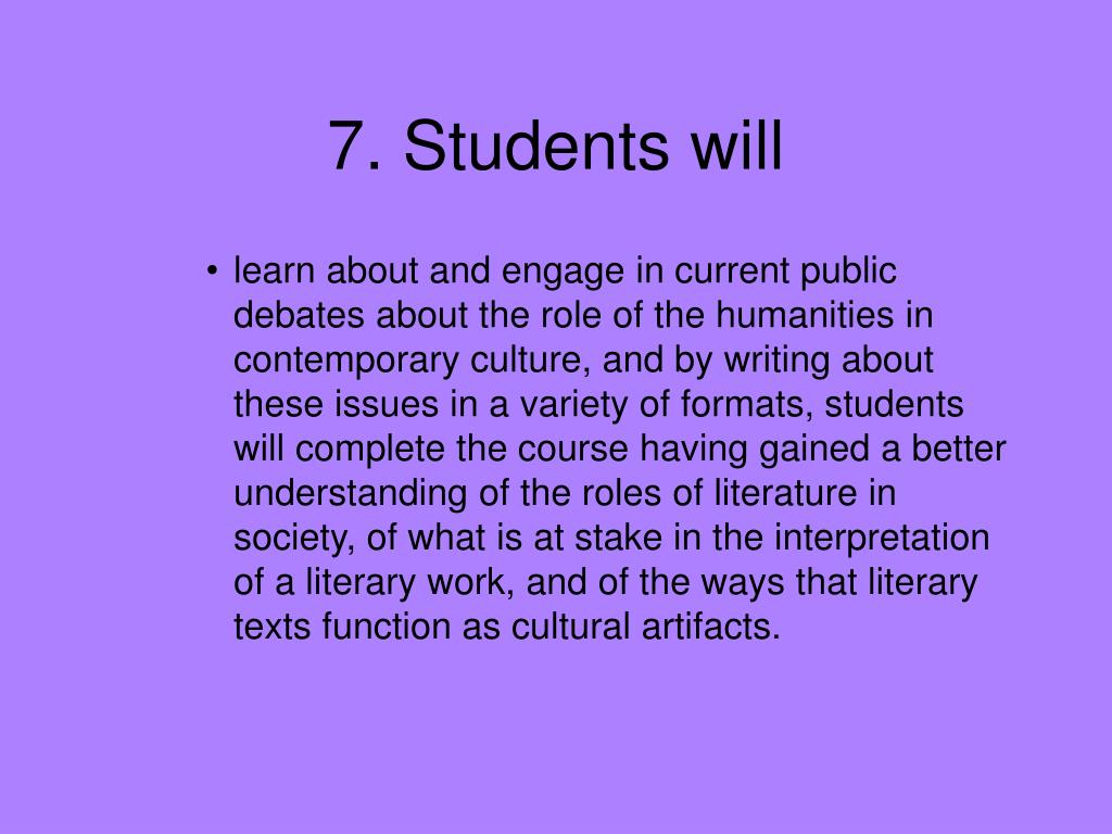 7. Students will