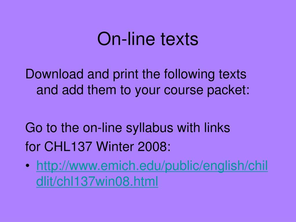 On-line texts