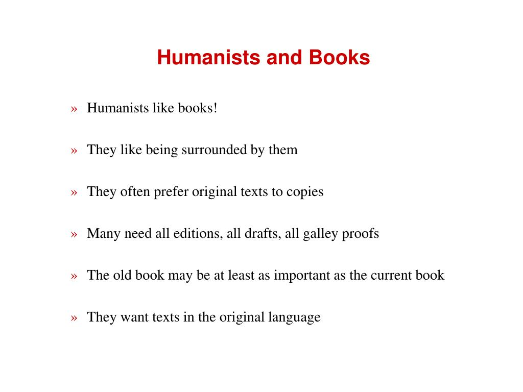 Humanists and Books