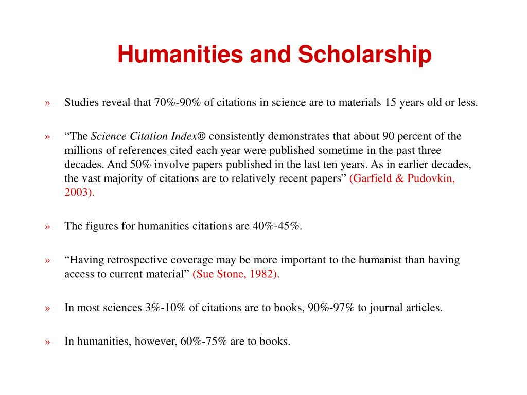 Humanities and Scholarship