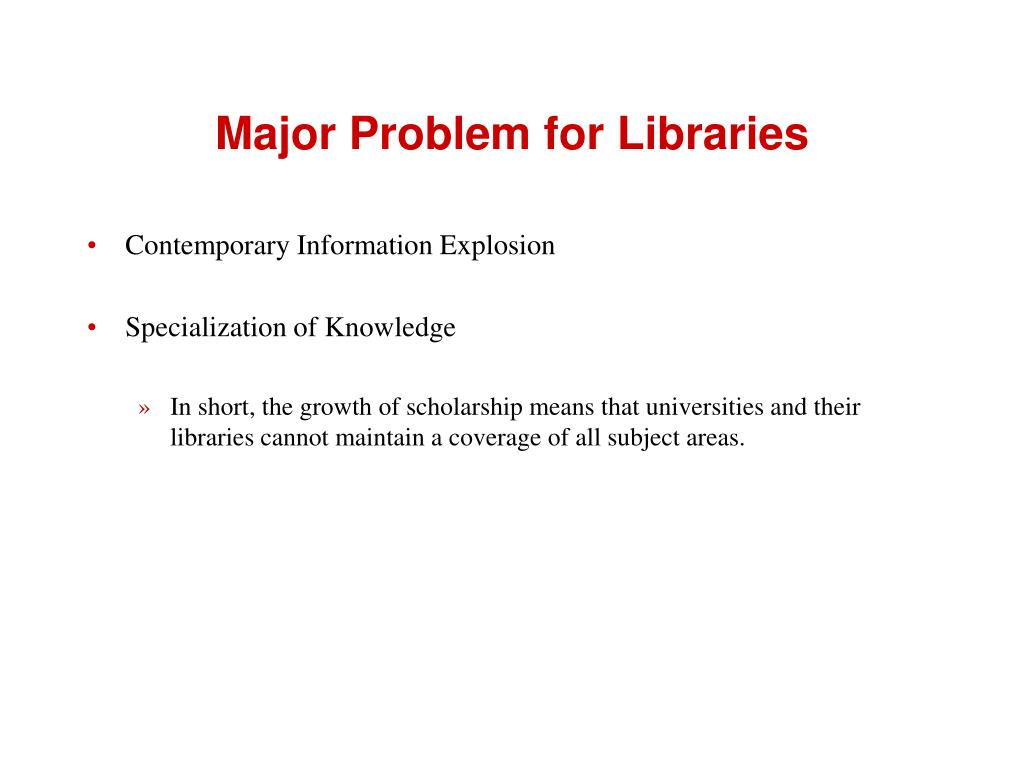 Major Problem for Libraries