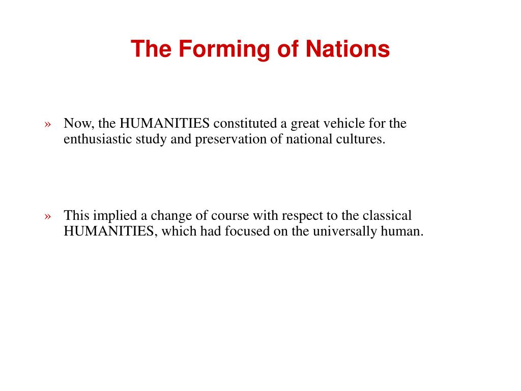The Forming of Nations
