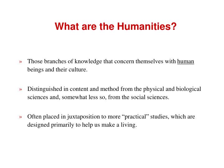 What are the humanities