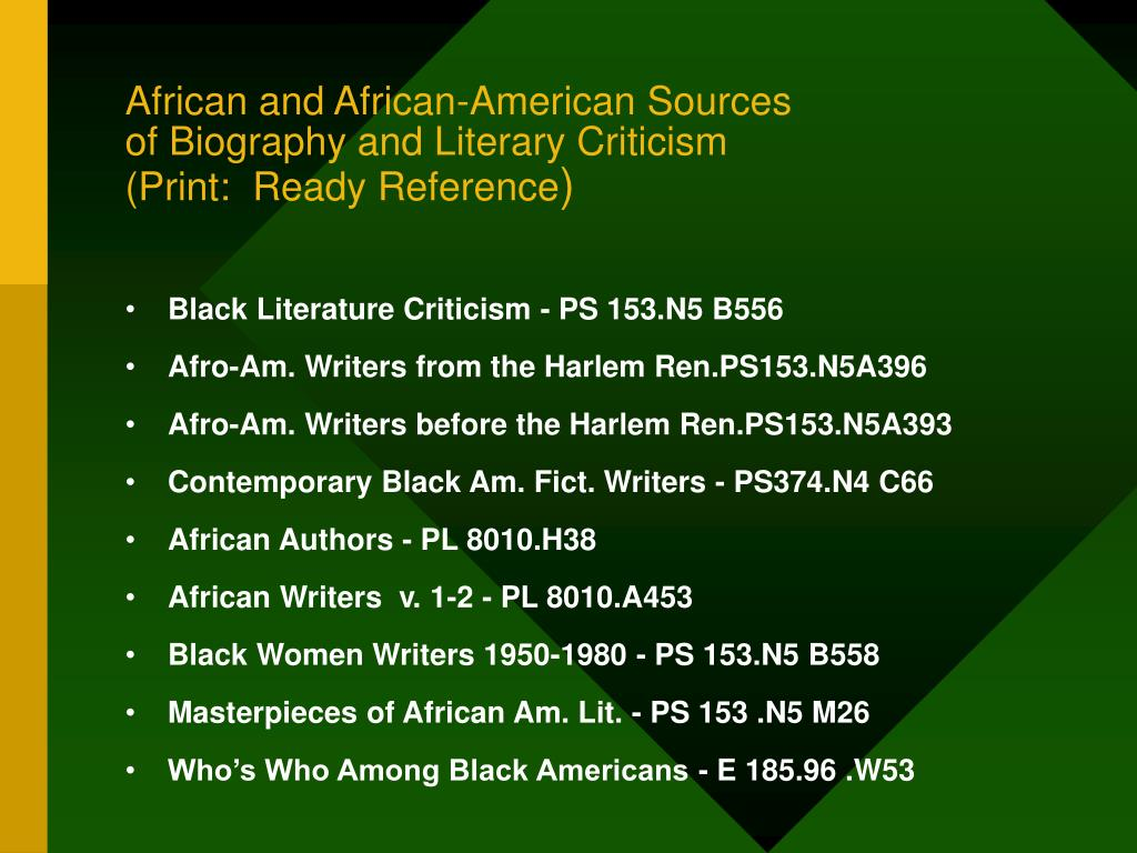 African and African-American Sources
