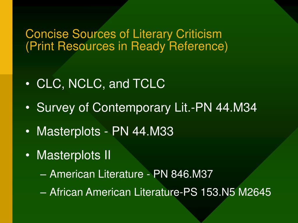 Concise Sources of Literary Criticism