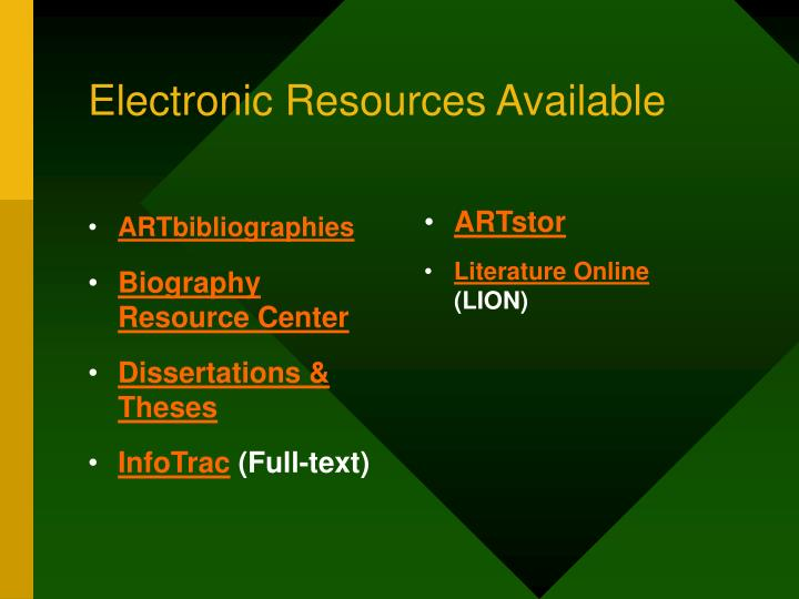 Electronic resources available