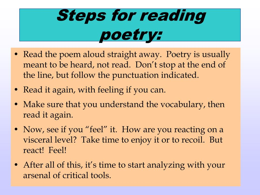 Steps for reading poetry: