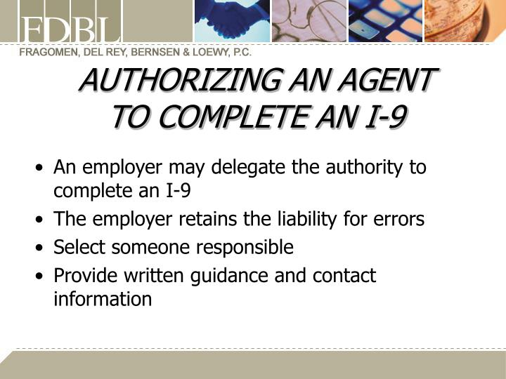 AUTHORIZING AN AGENT