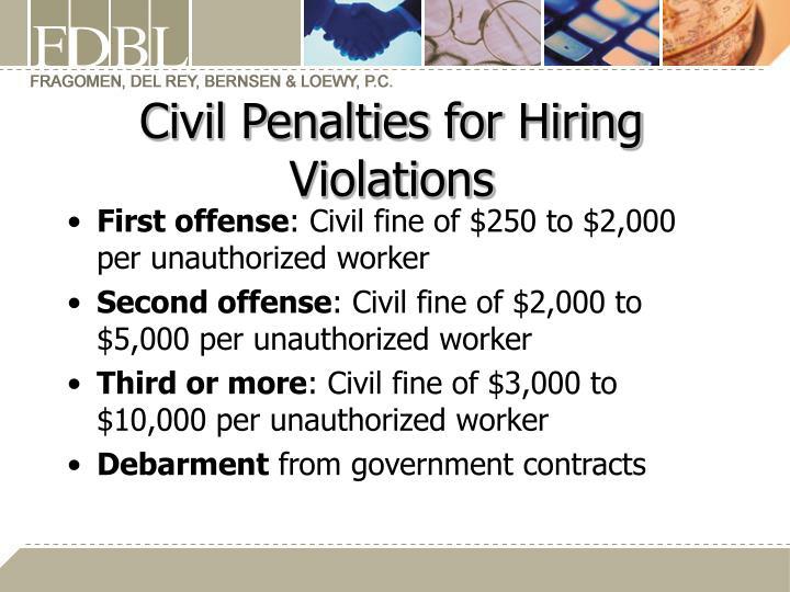 Civil Penalties for Hiring Violations