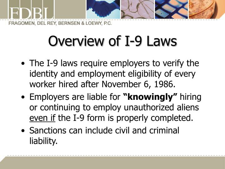 Overview of I-9 Laws