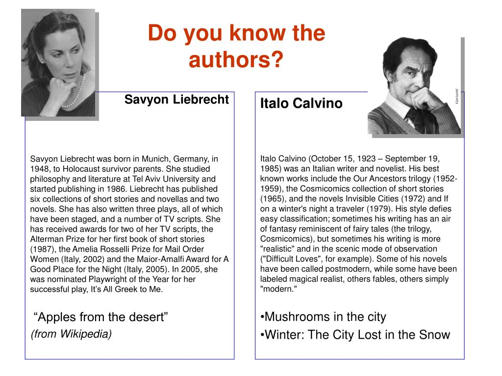Do you know the authors?