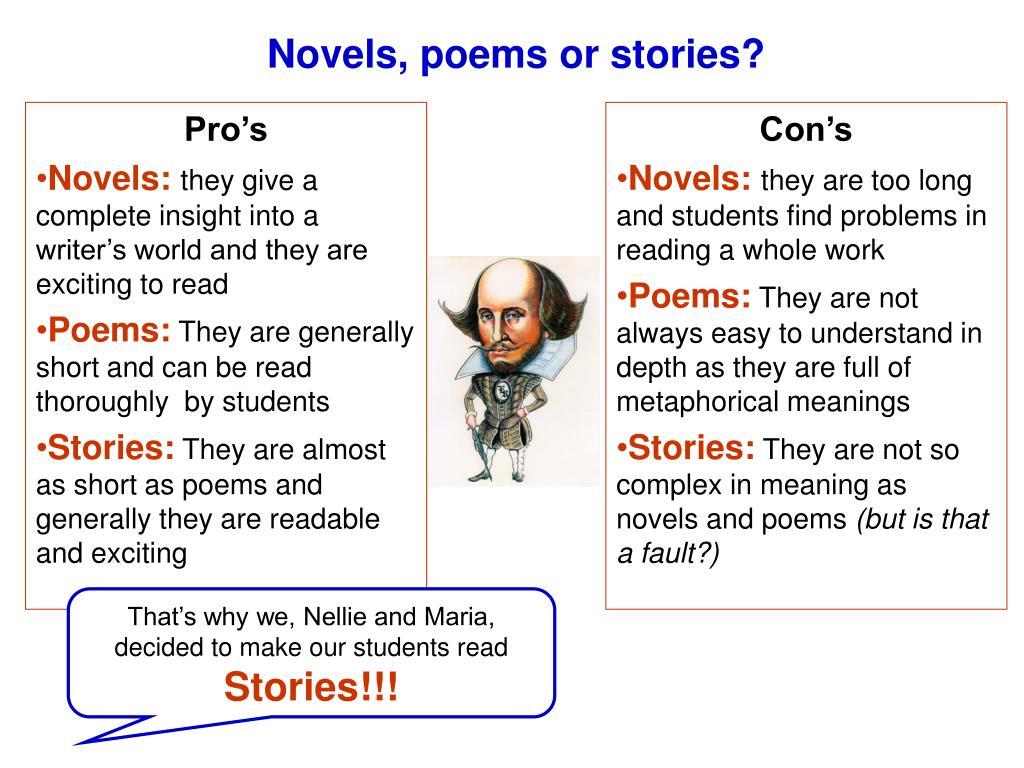Novels, poems or stories?