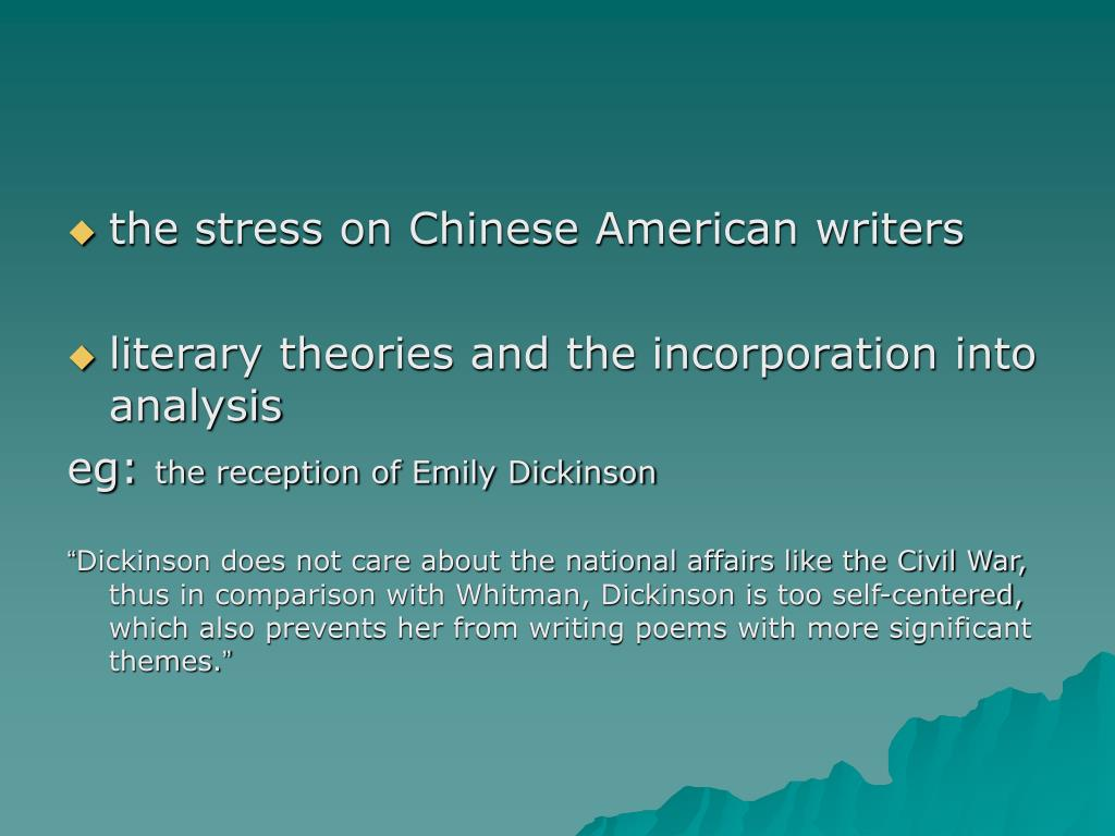 the stress on Chinese American writers