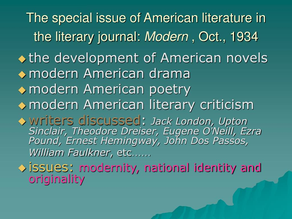 The special issue of American literature in the literary journal: