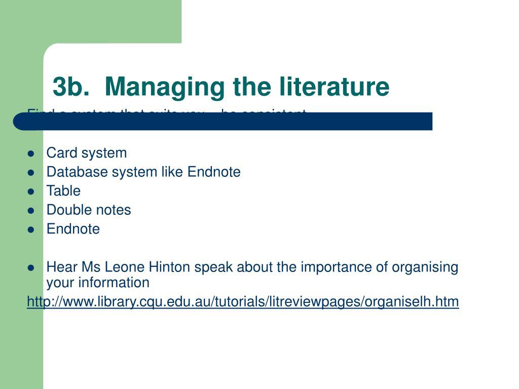 3b.Managing the literature