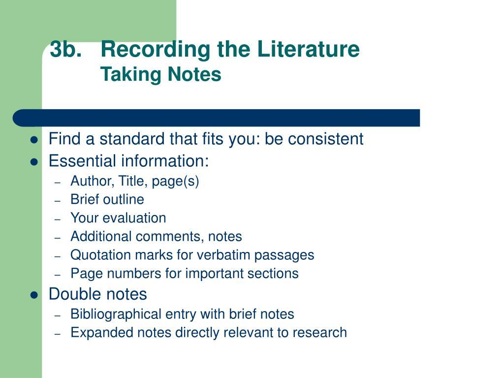 3b.Recording the Literature