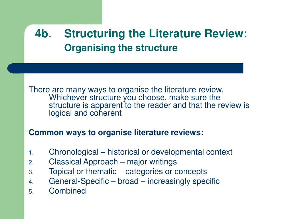 4b.	Structuring the Literature Review: