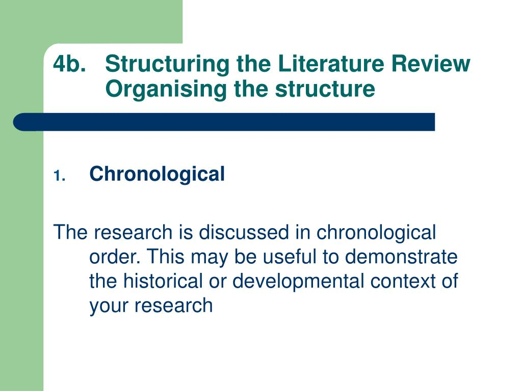 4b.	Structuring the Literature Review