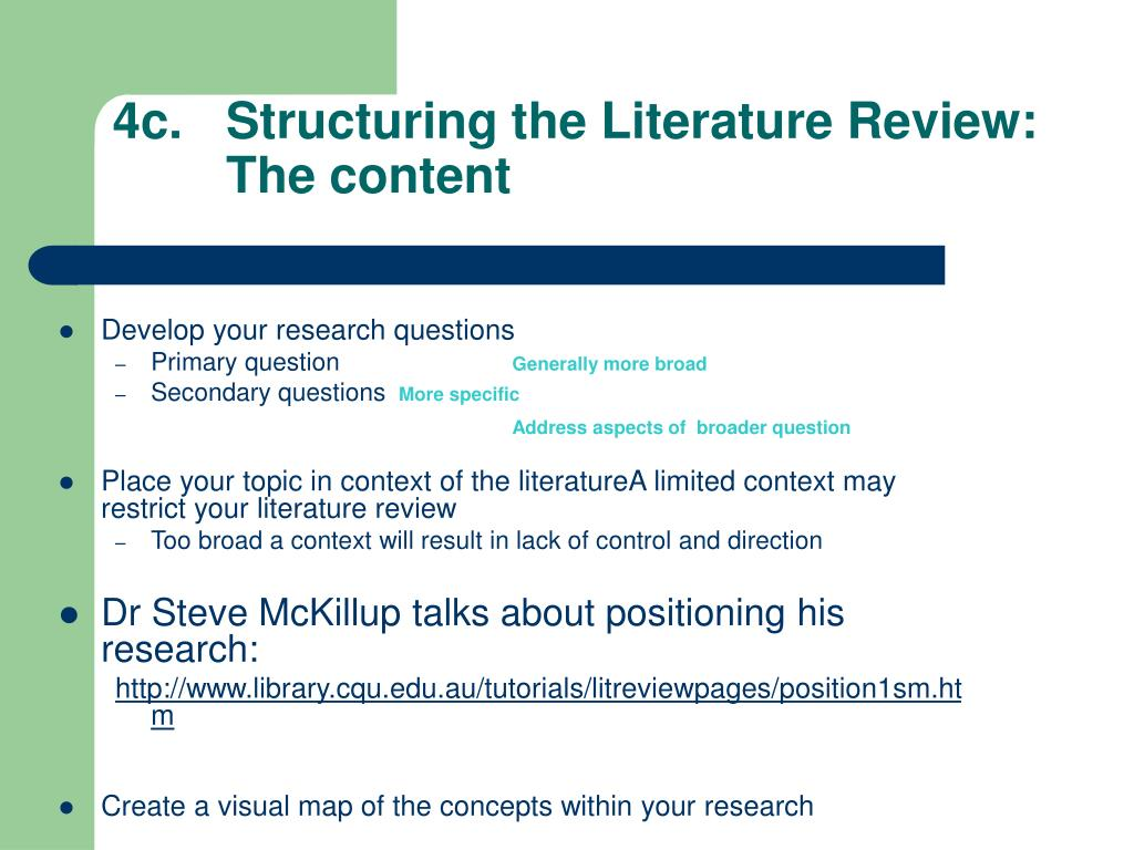 4c.		Structuring the Literature Review: