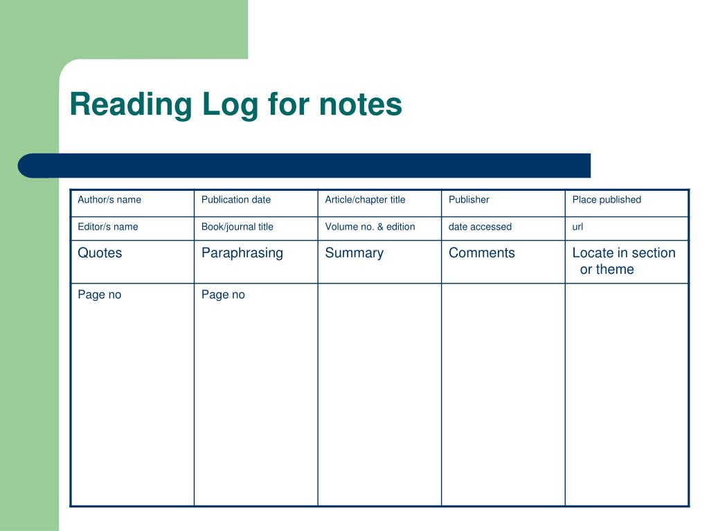 Reading Log for notes