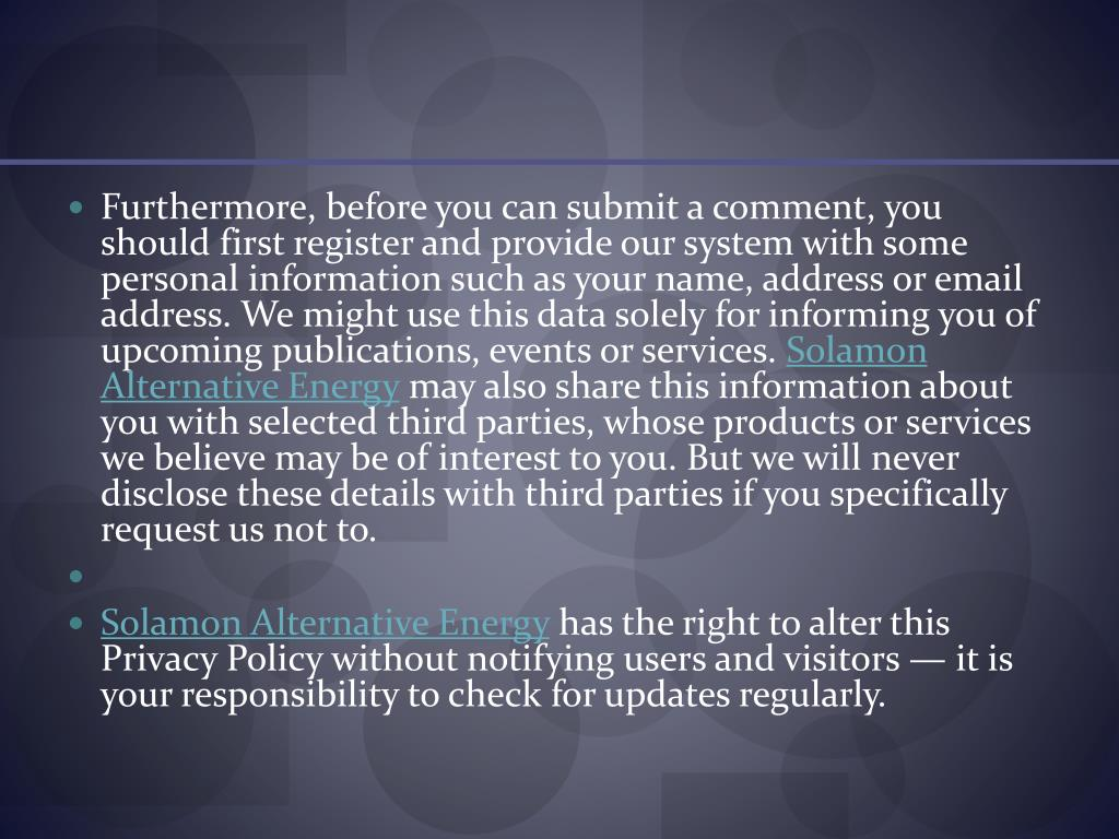 Furthermore, before you can submit a comment, you should first register and provide our system with some personal information such as your name, address or email address. We might use this data solely for informing you of upcoming publications, events or services.