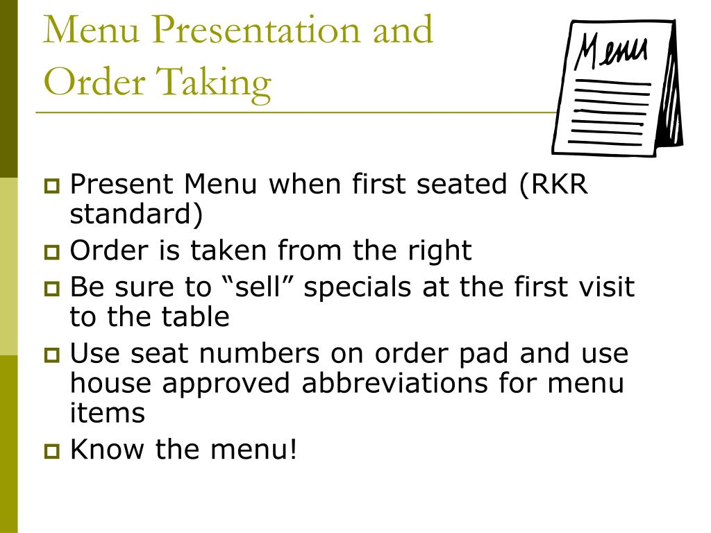 Menu Presentation and