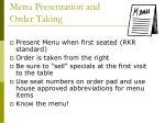 menu presentation and order taking