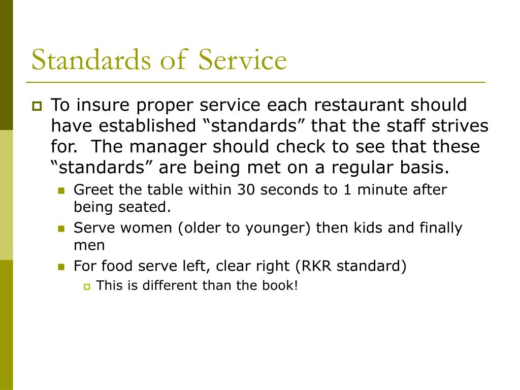 Standards of Service