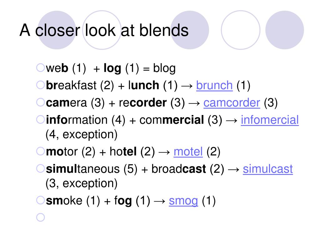 A closer look at blends