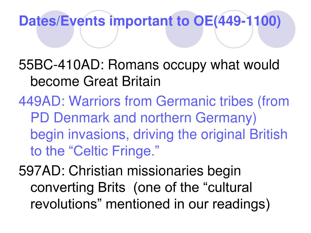 Dates/Events important to OE(449-1100)
