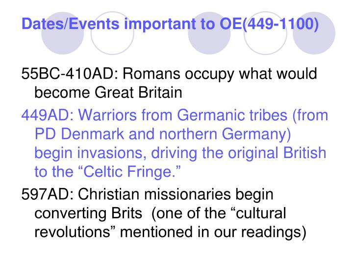 Dates events important to oe 449 1100