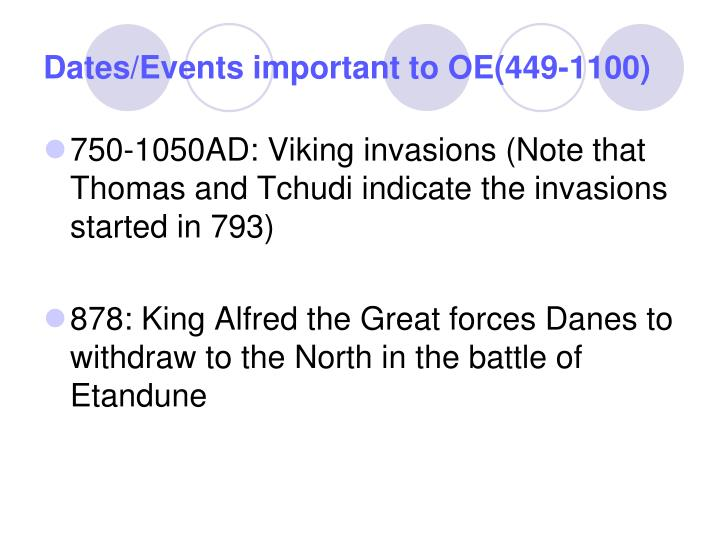 Dates events important to oe 449 11003
