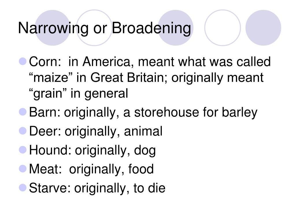 Narrowing or Broadening