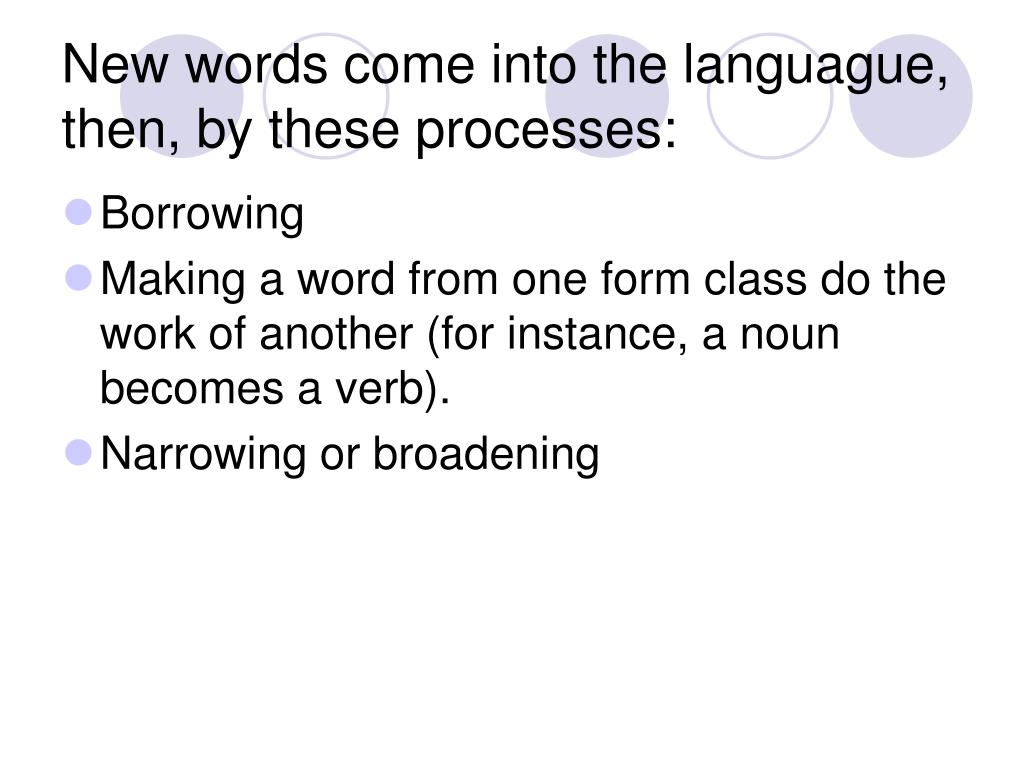 New words come into the languague, then, by these processes: