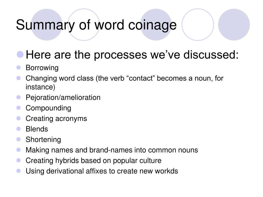 Summary of word coinage