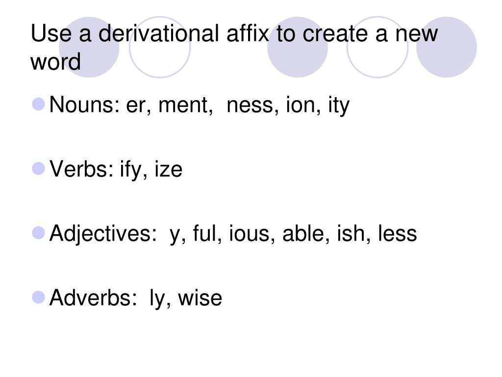 Use a derivational affix to create a new word