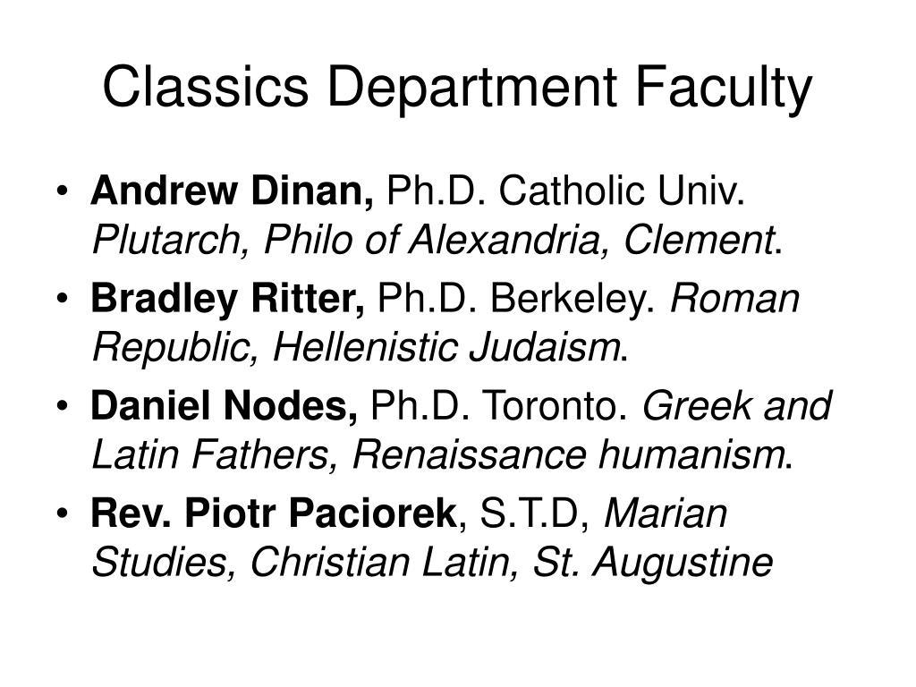 Classics Department Faculty