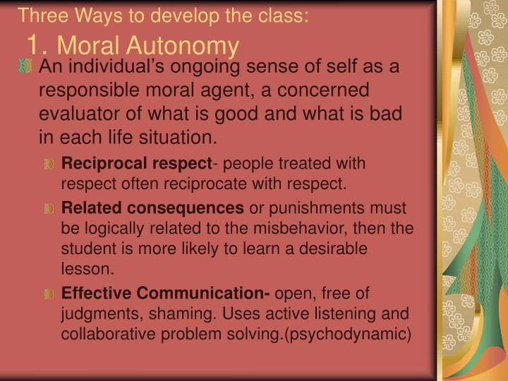 Three Ways to develop the class: