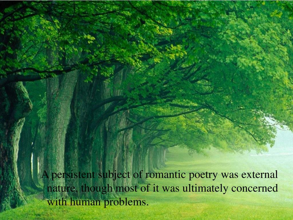 A persistent subject of romantic poetry was external nature, though most of it was ultimately concerned with human problems.