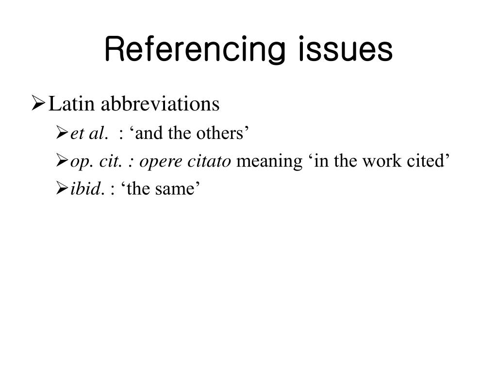 Referencing issues