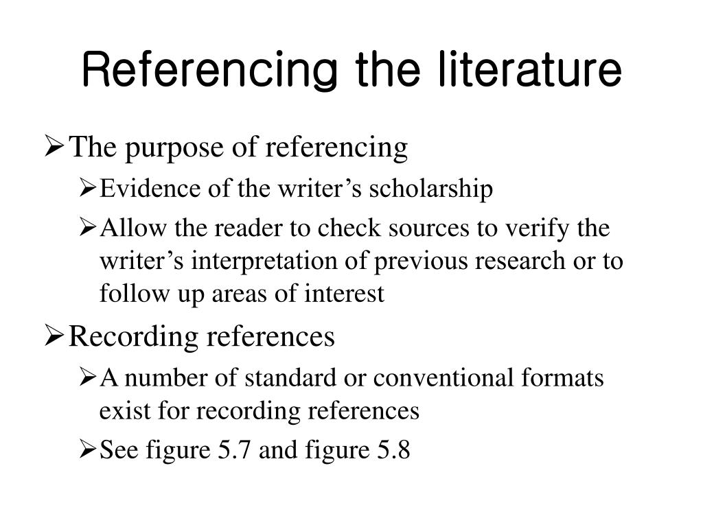 Referencing the literature